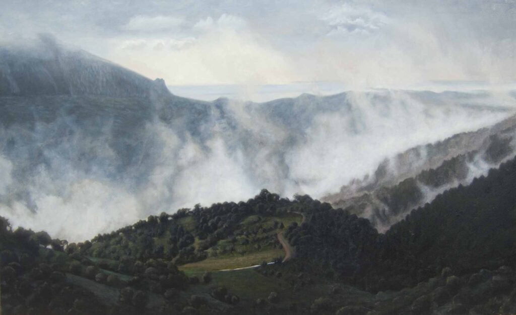 After the rain, Loma del Moro. Light on Andalucia. Contemporary landscape painting by Victoria Orr Ewing
