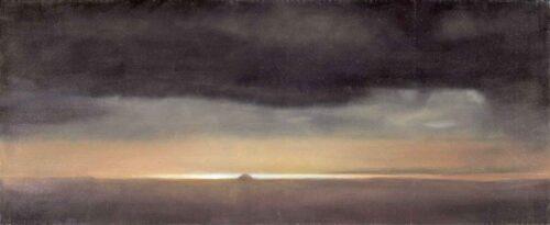 Ailsa Craig Sunset Study. Landscape Painting by Victoria Orr Ewing