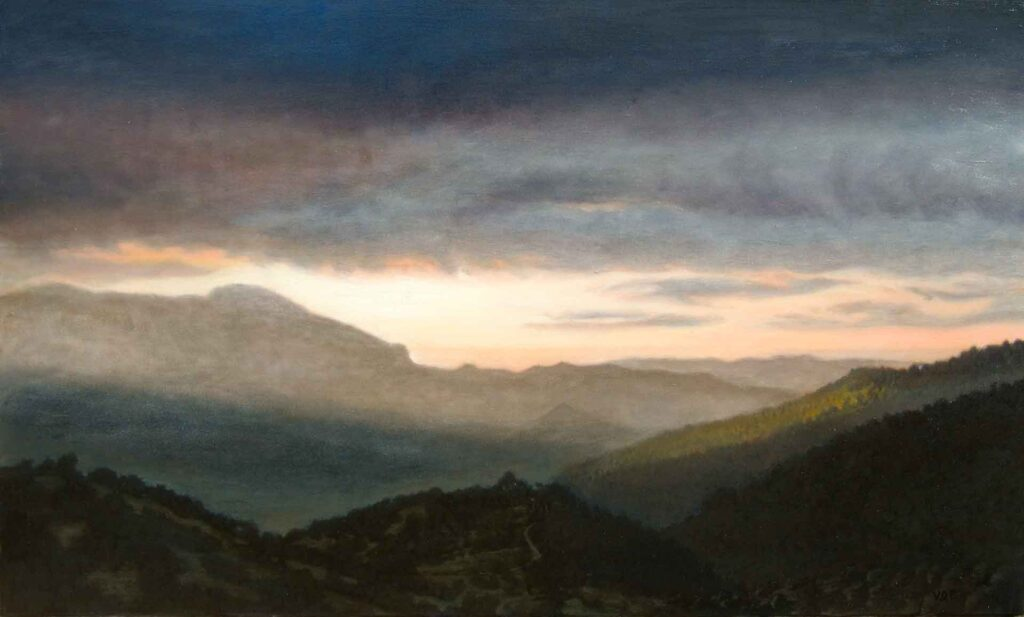 Arroyo del Moro, Stormy Sunrise. Light on Andalucia. Contemporary landscape painting by Victoria Orr Ewing