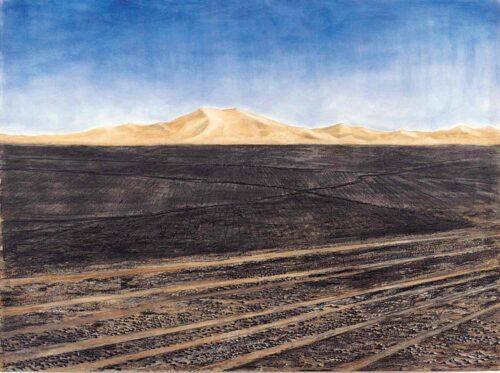 Black & Red Desert 1, The Sahara. Charcoal, Earth and Pigment Drawing on Paper By Victoria Orr Ewing