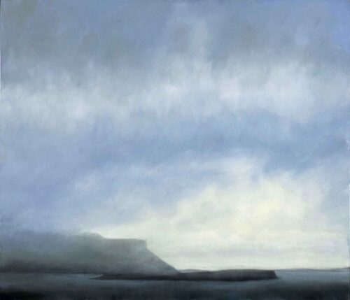 Blue Umber CLouds Over Eorsa Island. Landscape Painting by Victoria Orr Ewing