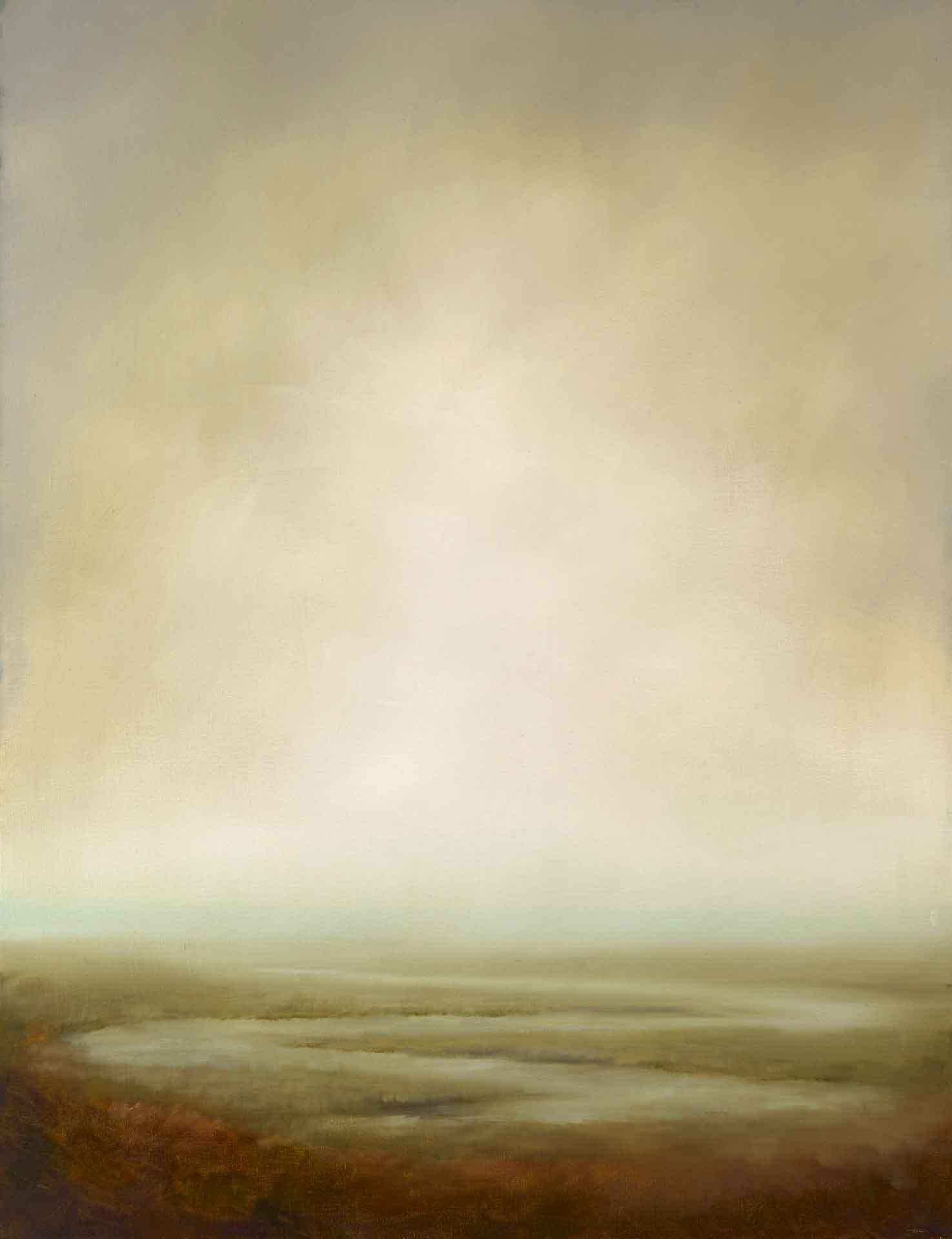 Bright Misty Light Over The Sea Off South Uist In The Western Isles - Landscape Painting By Victoria Orr Ewing