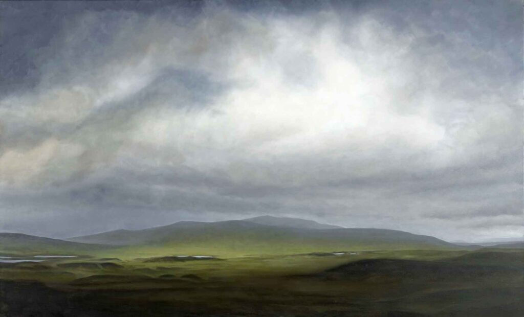 A Bright Strip of Grass on Rannoch Moor. Landscape Painting by Victoria Orr Ewing
