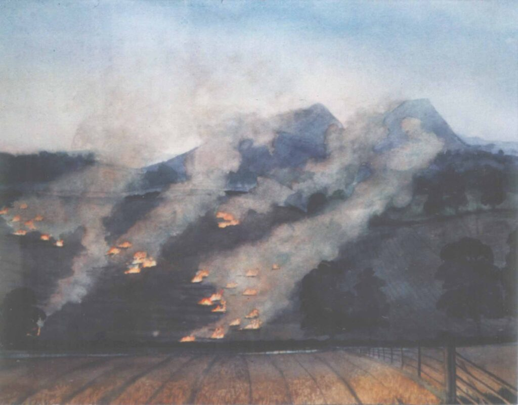 Burning Straw Behind The Eildons, The Borders, Scotland. Watercolour painting by Victoria Orr Ewing