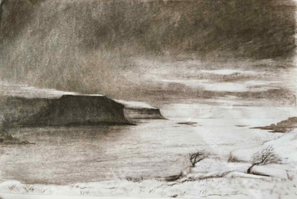 Grubin Cliffs In The Snow, Isle Of Mull. Charcoal Drawing oby Victoria Orr Ewing