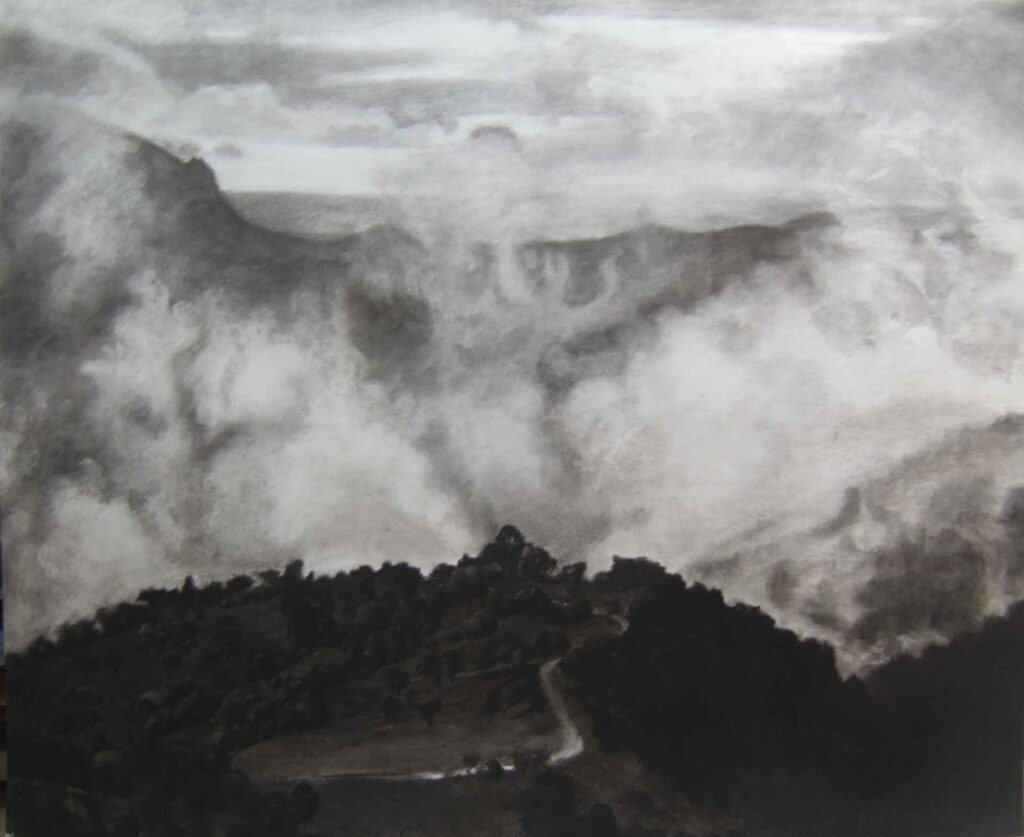 Loma del Moro. Light on Andalucia. Contemporary landscape drawing by Victoria Orr Ewing