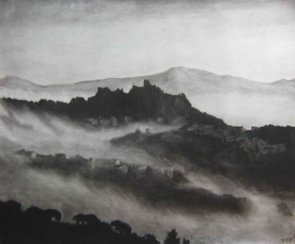Misty Village, Gaucin, Light on Andalucia. Contemporary landscape drawing by Victoria Orr Ewing