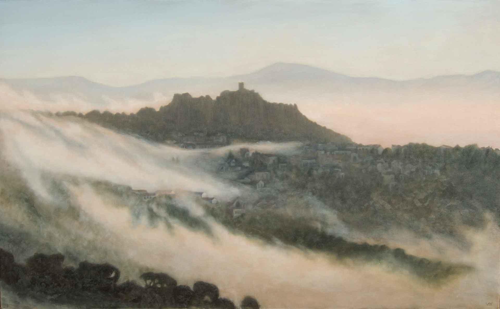 Cloudy morning Gaucin-. Oil on canvas.146-x-90cm. SOLD