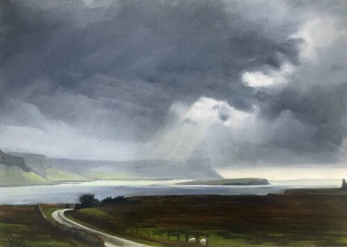 Plein Air Sketch Of The Cloudy Cliffs Of Grubin From Archronich On Mull by Victoria Orr Ewing