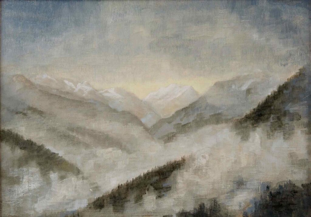 Plein Air Sketch Of Cloudy View From Les Allues by Victoria Orr Ewing
