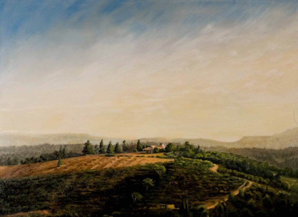 Coffee Farm At Ninh Gia, Dalat, Vietnam. Commissioned landscape Oil Painting By Victoria Orr Ewing