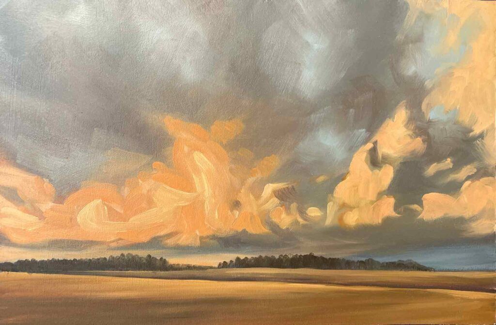 Coral Clouds In The Cotswolds. Plein Air landscape Painting by Victoria Orr Ewing