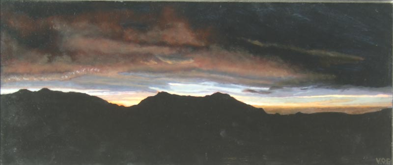 Dark, Dark Sierra Bermeja. Light on Andalucia. Contemporary landscape painting by Victoria Orr Ewing