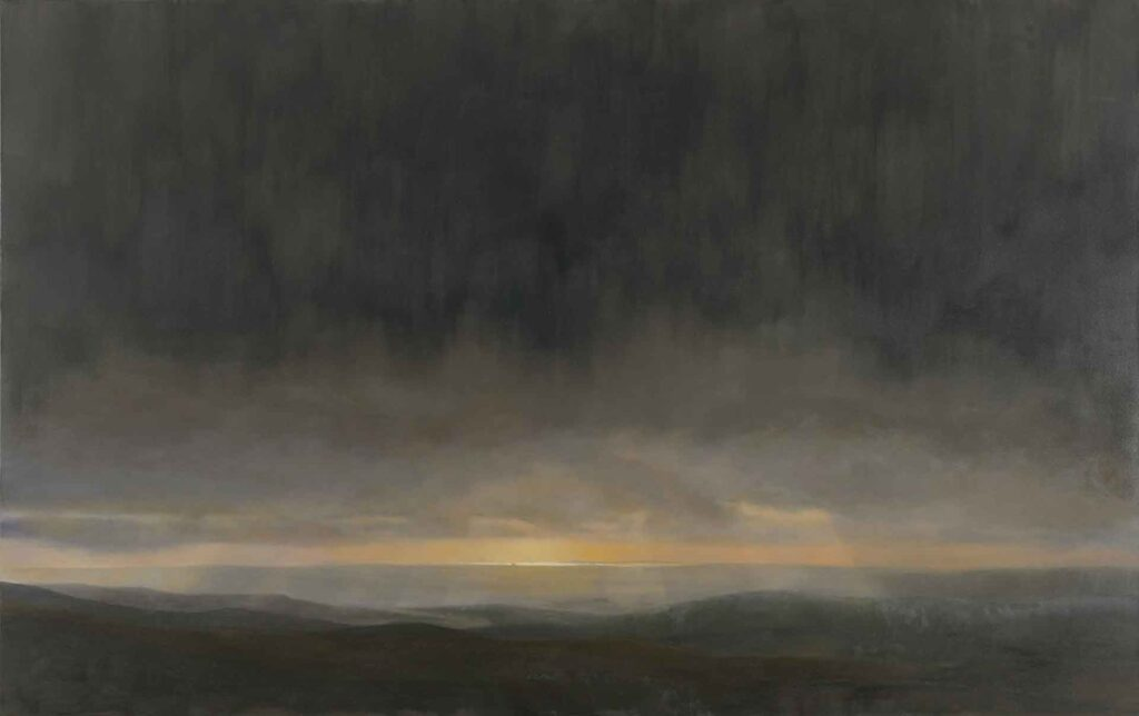 Dark Sunset From The Galloway Hills. Landscape Painting by Victoria Orr Ewing