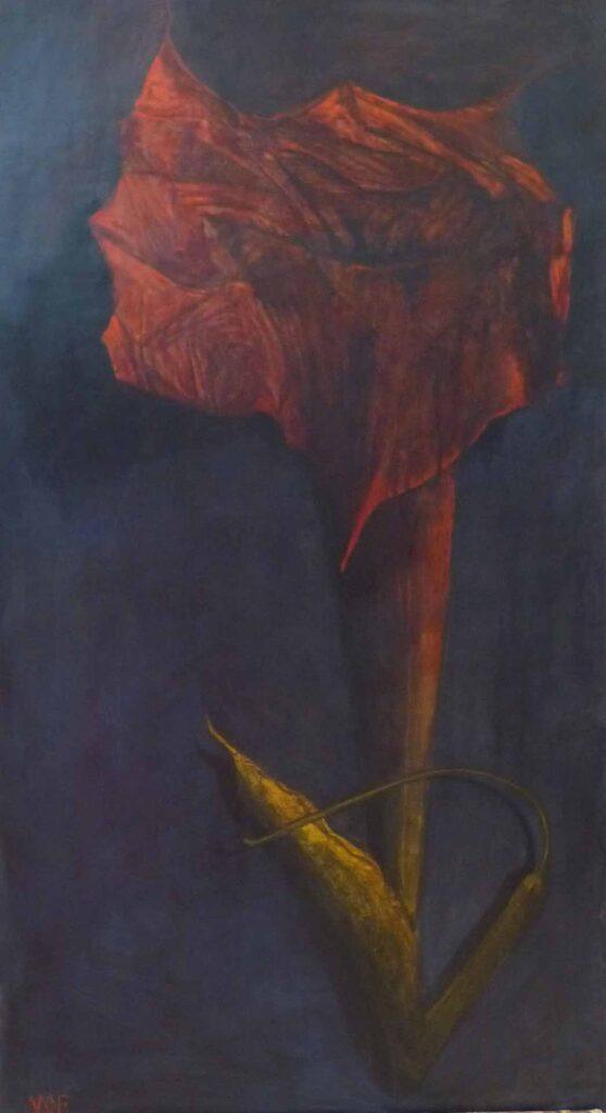 Datura Roja. Still Life Painting By victoria Orr Ewing