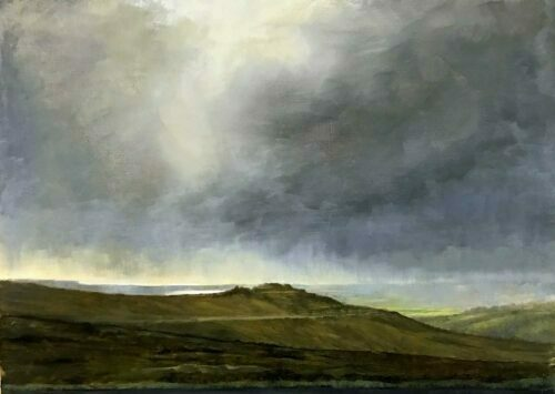 Plein Air Sketch Distant Sunlight From Dartmoor To Plymouth by Victoria Orr Ewing