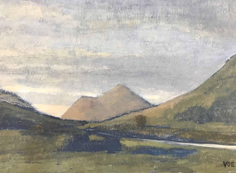 Dull Dawn, Glenforsa. Mull. Oil on board.18 x 13 cm. SOLD