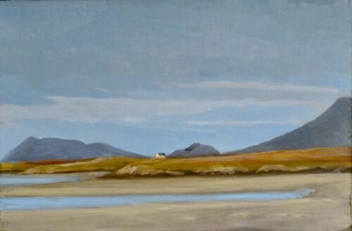 Plein Air Sketch Of Eaval And The Lee Mountains On North Uist by Victoria Orr Ewing