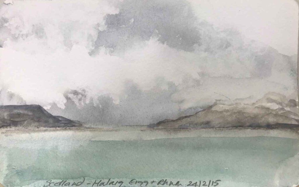 Sketch Of Rum and Eigg From Mallaig