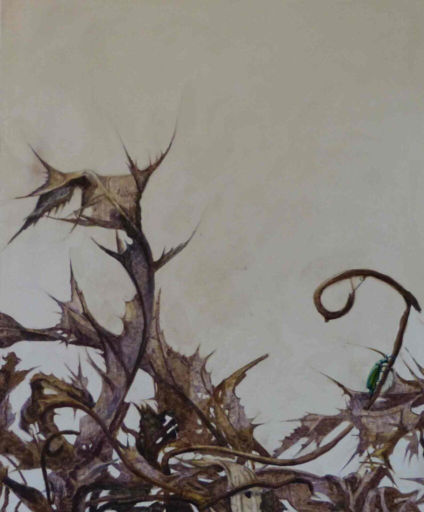 El Nido Del Chochin Hecho De Cardos. Still Life Painting By victoria Orr Ewing