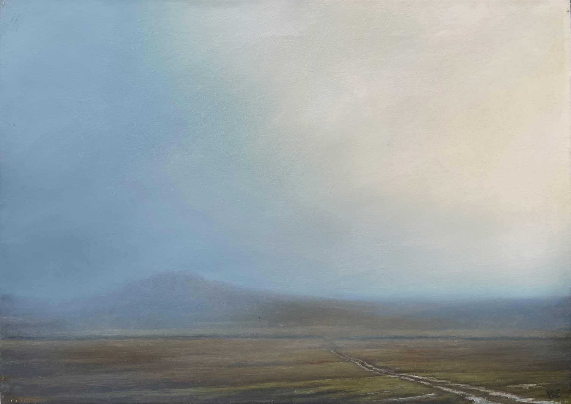 Evening Light On Laughter Tor Dartmoor - Contemporary Landscape Painting by Victoria Orr Ewing