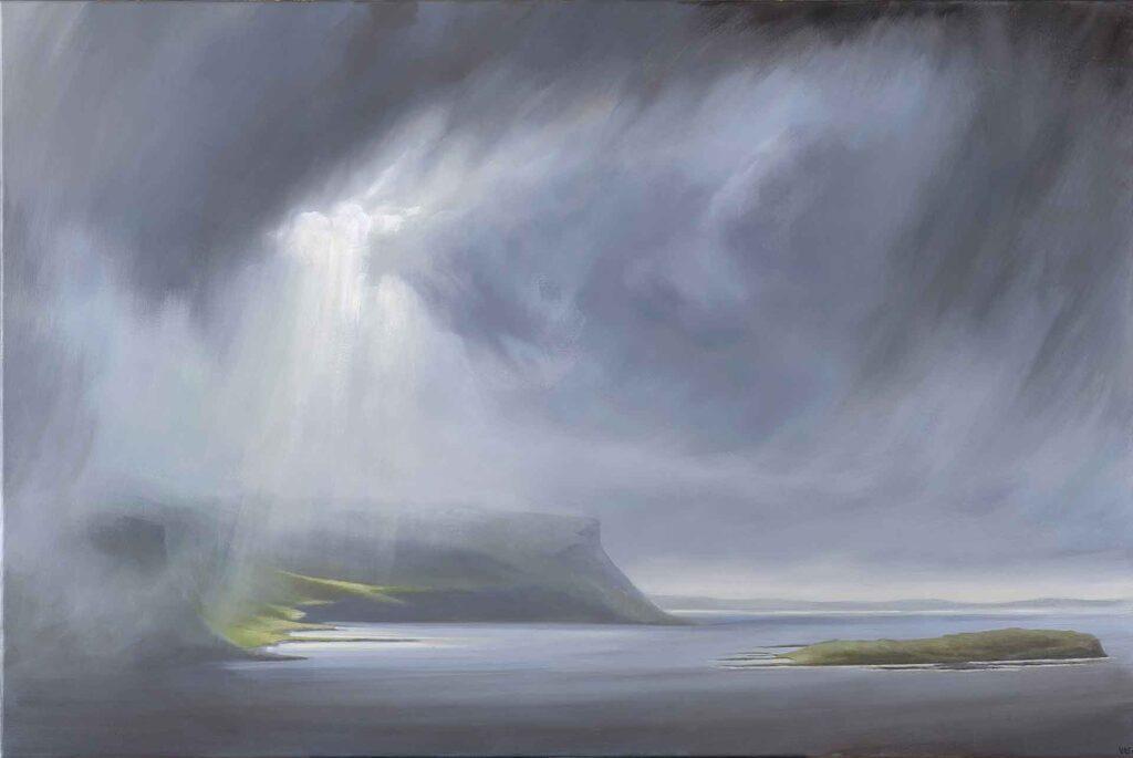 Fleeting Light on Grubin, Isle of Mull, Scotland, landscape Painting by Victoria Orr Ewing