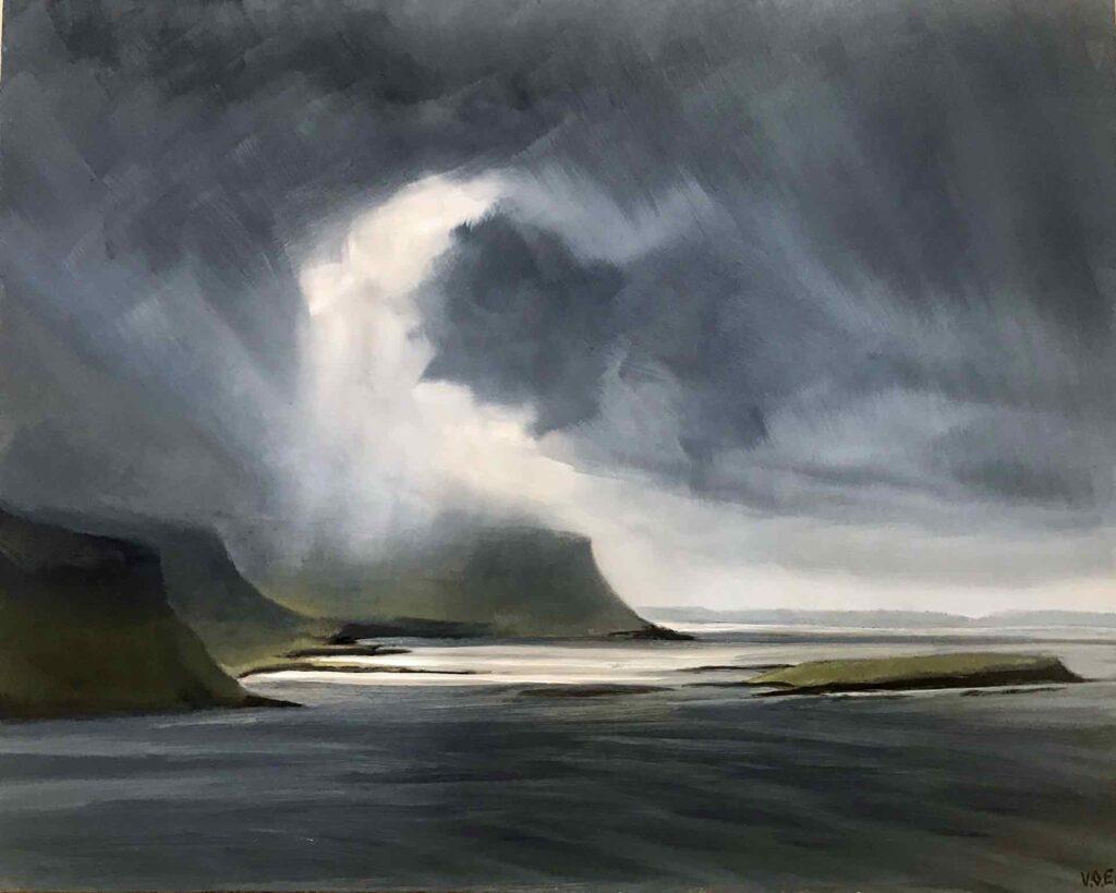 Plein Air Sketch Of Fleeting Sun On Grubin , Isle Of Mull by Victoria Orr Ewing