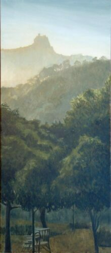 Gaucin Castle From Finca Hornillo. Landscape Oil Painting By Victoria Orr Ewing