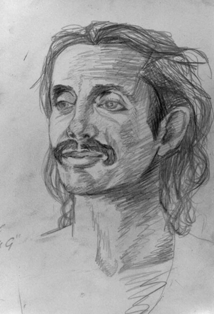 Sketch of Guru G, Clive in India by Victoria Orr Ewing