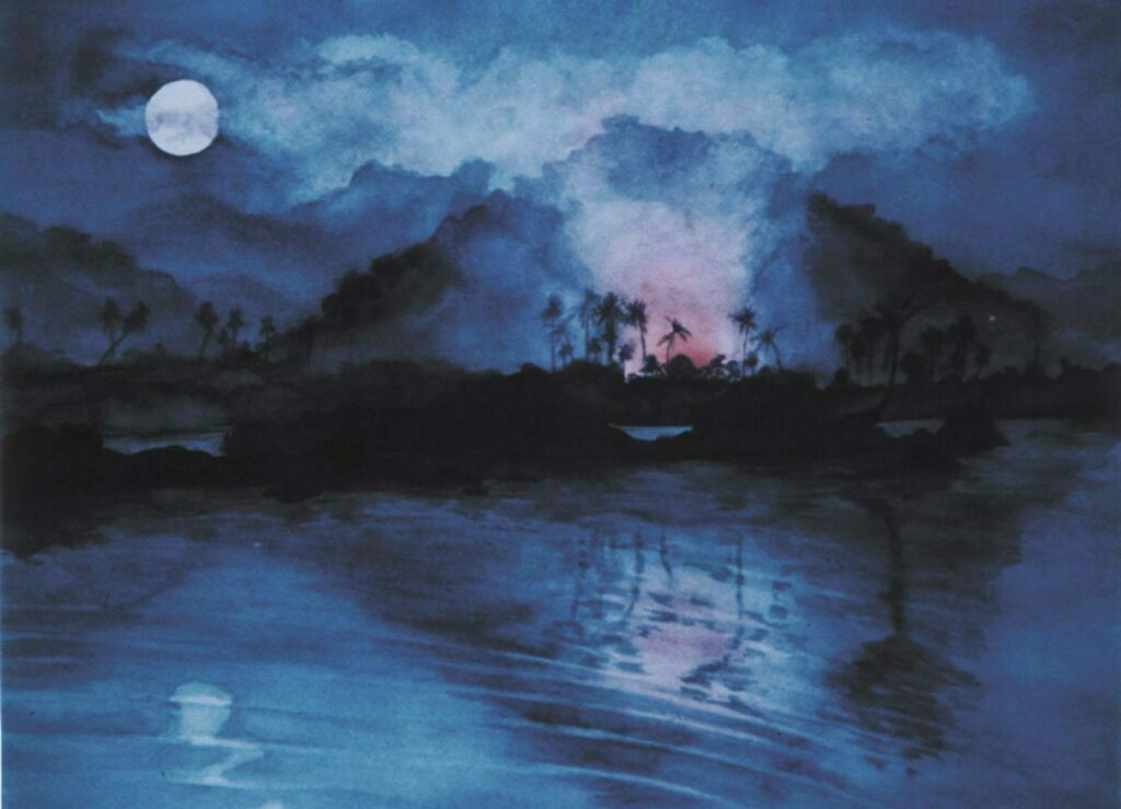 Moon Fire, hampi India. Watercolour painting by Victoria Orr EwingMoon Fire, hampi India. Watercolour on paper. 100 x 72 cm.
