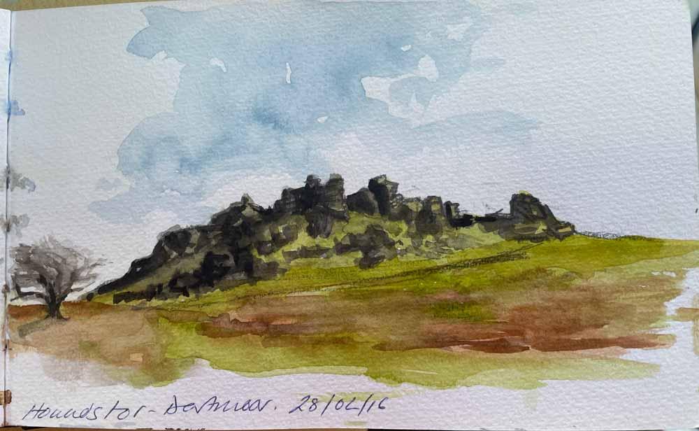 Sketch of Hounds Tor, Dartmoor