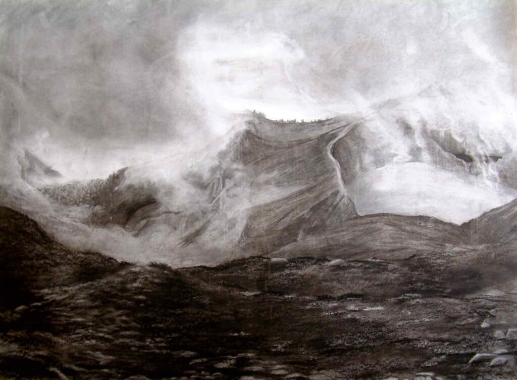 Kelimutu Volcano, Flores, Indonesia. Charcoal Drawing oby Victoria Orr Ewing