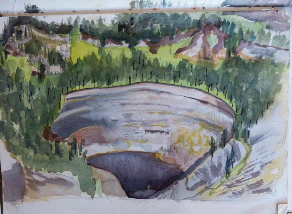 Sketch Of Kelimutu Volcano In Flores