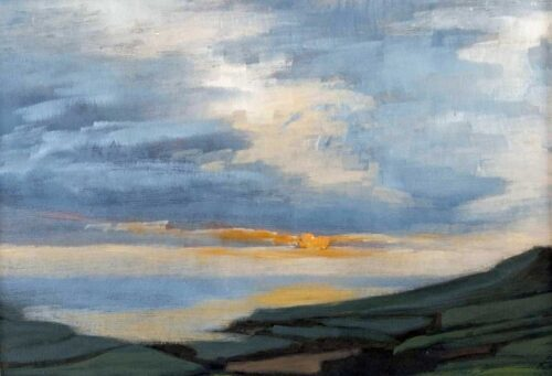 Plein Air Sketch Of Sunset From Kimmeridge, Purbeck by Victoria Orr Ewing