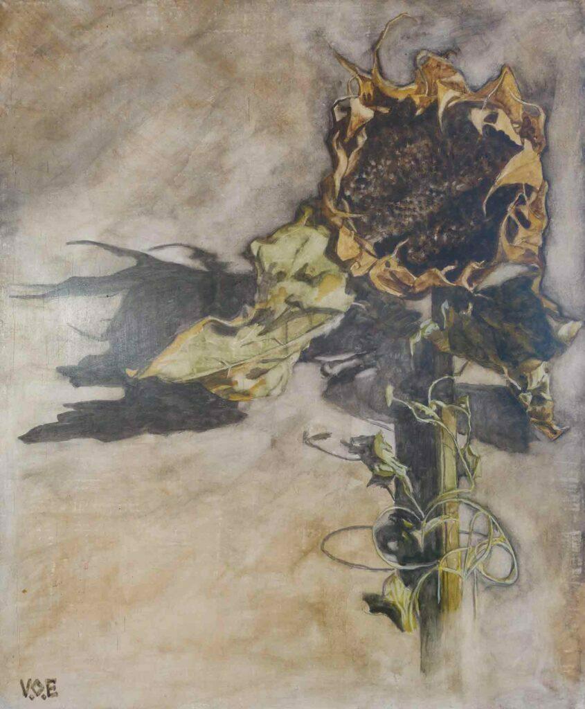 La Sombra Del Girasol, Still Life Painting by Victoria Orr Ewingto
