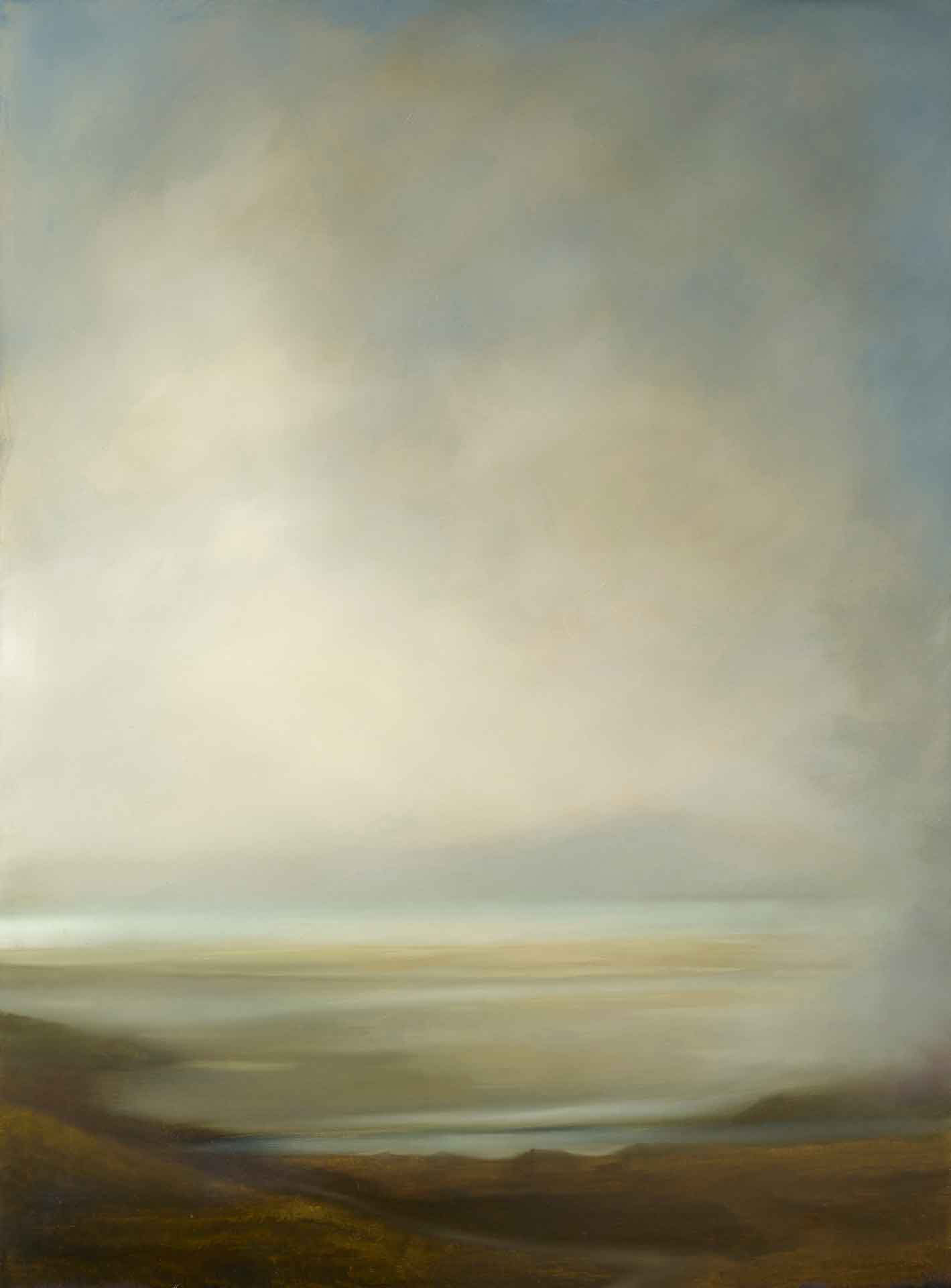 Light Between the mist, Luskentyre, Harris. Oil on canvas.  97 x 130 cm