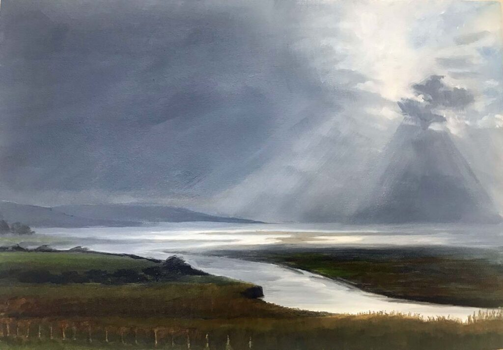 Plein Air Sketch Of Light On Ringdoo Point With A Flooding Tide, Galloway by Victoria Orr Ewing