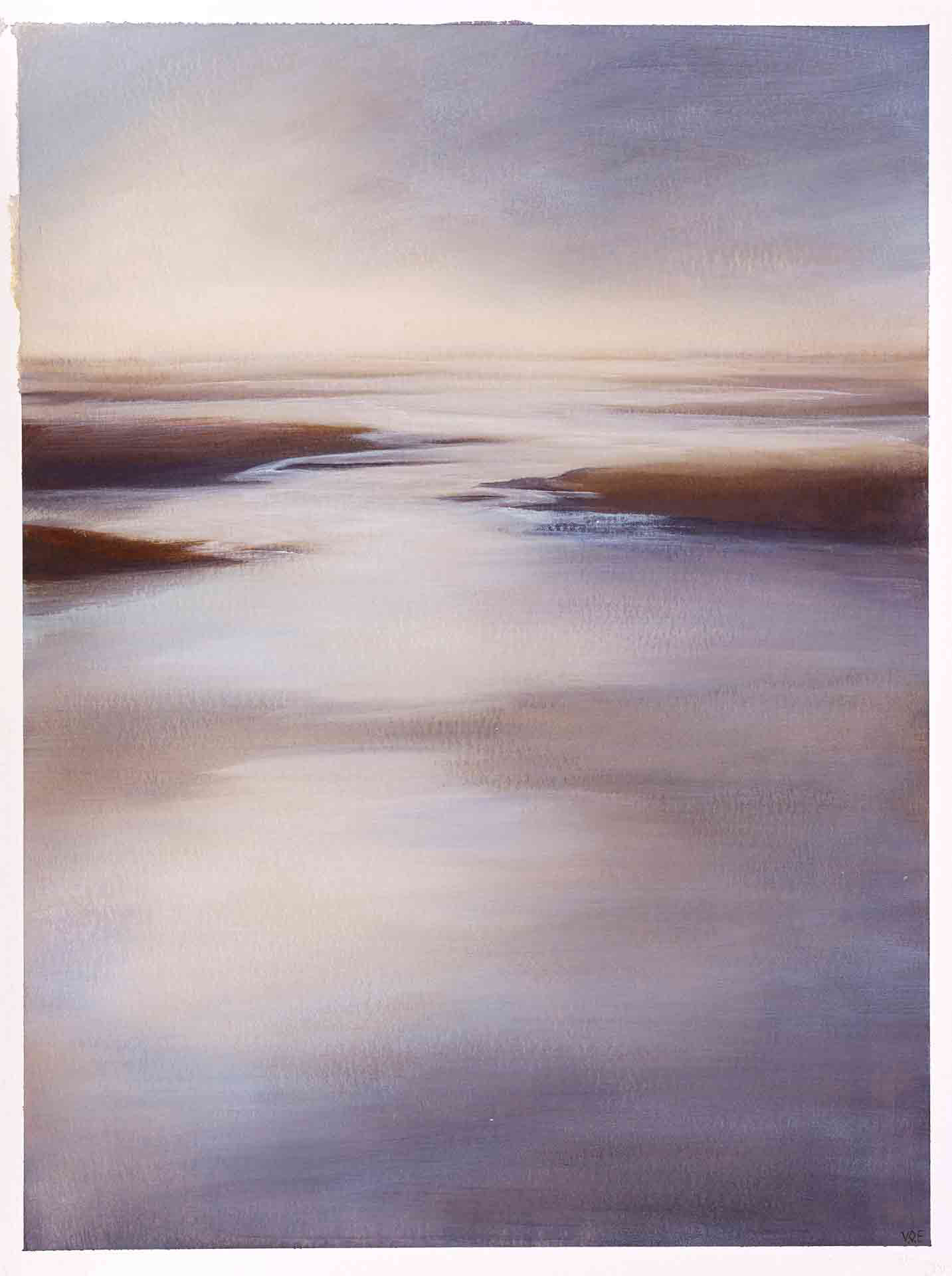 Low Tide, Traigh Leathon, North Uist. Contemporary Landscape painting by Victoria Orr Ewing