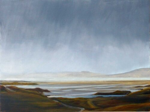 Plein Air Sketch Of Luskentyre From Above On The Isle Of Harris by Victoria Orr Ewing