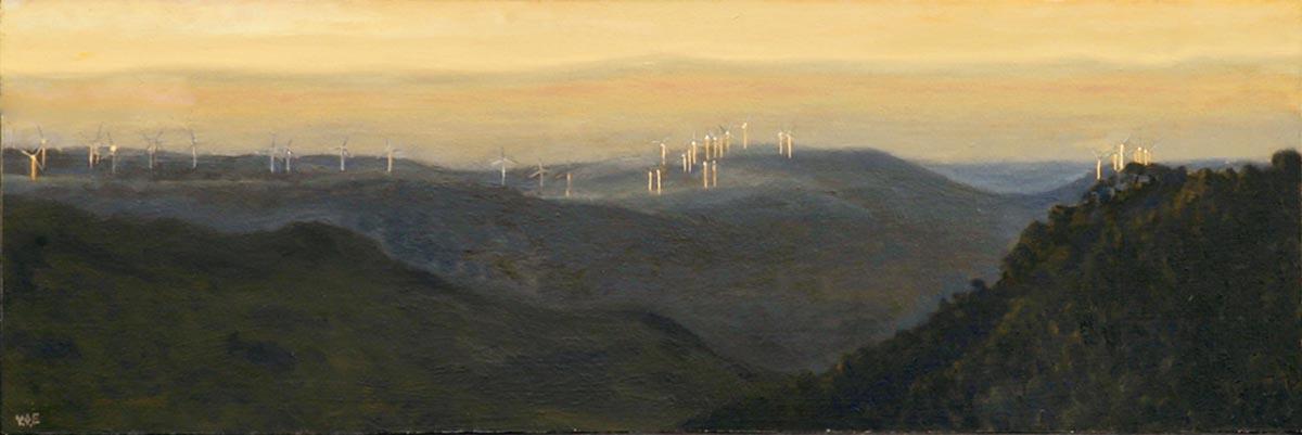 Manilva Windmills at dawn. No2. Oil on board. 20 x 40 cm. SOLD