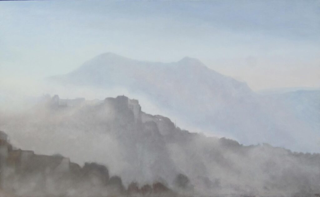 Misty Morning Gaucin. Landscape Oil Painting By Victoria Orr Ewing