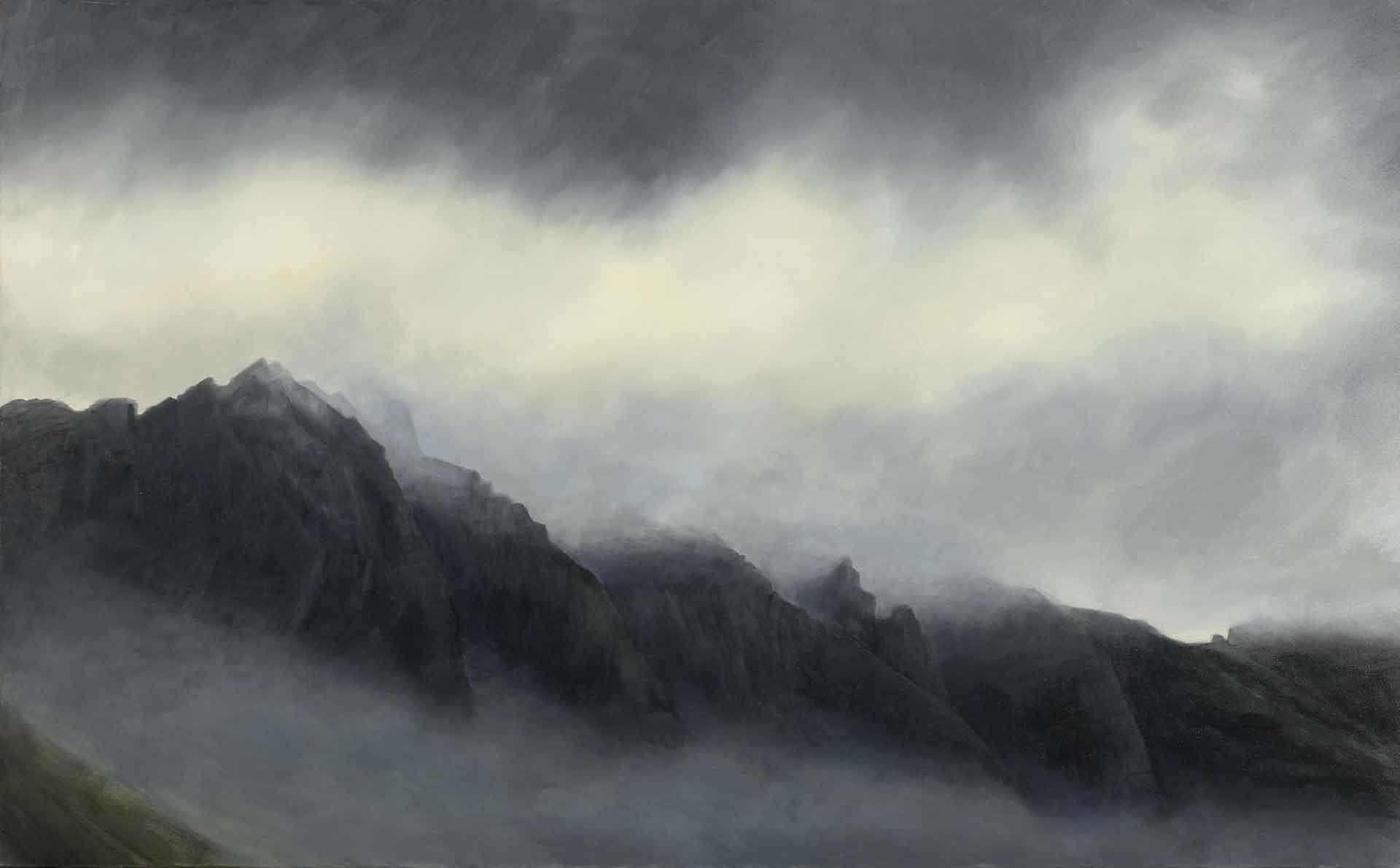 Misty peaks Of Glencoe - Landscape Painting by Victoria Orr Ewing