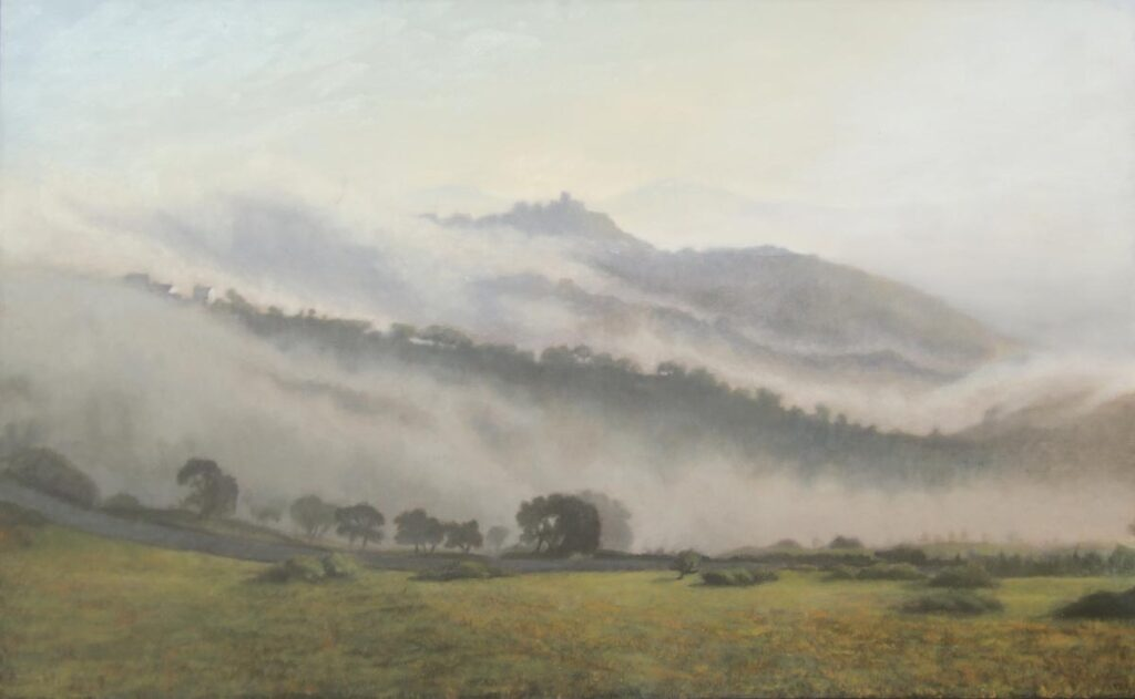 Morning Cloud envelopes Gaucin. Light on Andalucia. Contemporary landscape painting by Victoria Orr Ewing