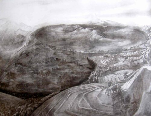 Mount Bromo, Java.Charcoal Drawing oby Victoria Orr Ewing