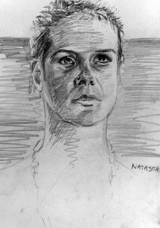 Sketch of natasha in India by Victoria Orr Ewing