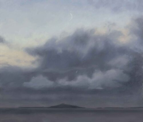 New Moon Over Staffa, Isle of Mull. Landscape Painting by Victoria Orr Ewing