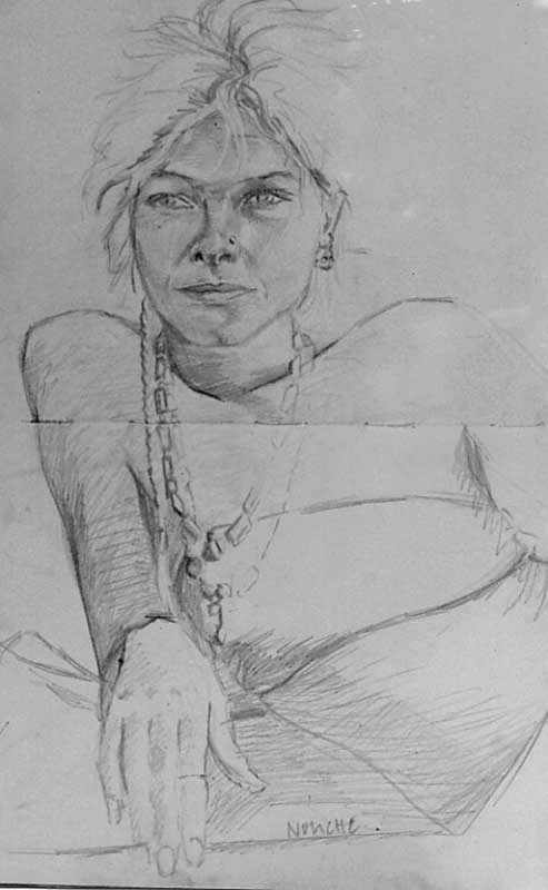 Sketch of Nouche in India by Victoria Orr Ewing