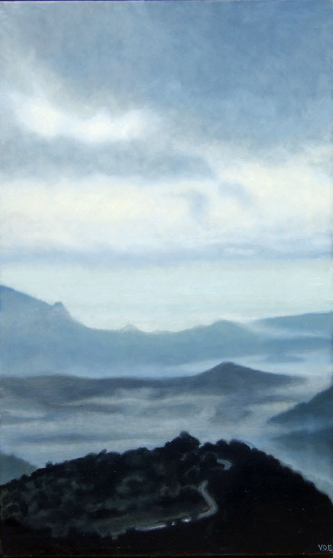 Pearly Dawn over Loma del Moro. Light on Andalucia. Contemporary landscape painting by Victoria Orr Ewing