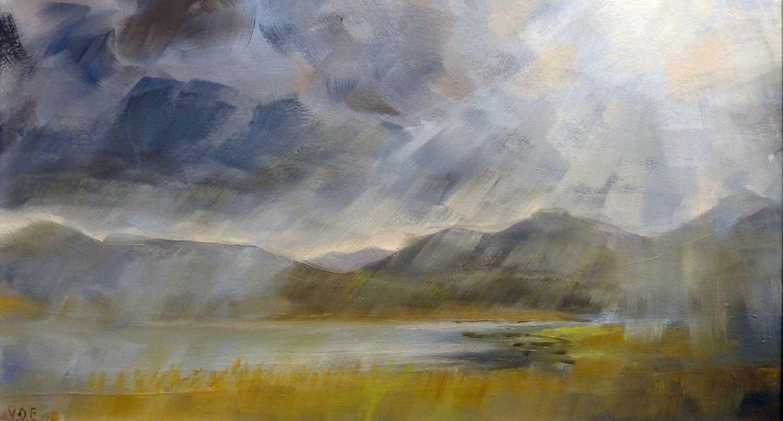 Rain, Sun, Rain. Loch Don, Isle of Mull. Oil on board. 35 x 20.5 cm