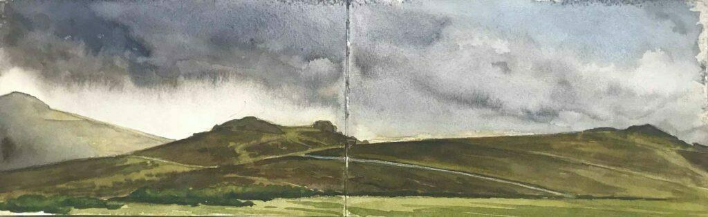 Sketch Of Saddle Tor On Dartmoor